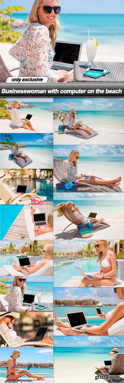 Businesswoman with computer on the beach - 14 UHQ JPEG