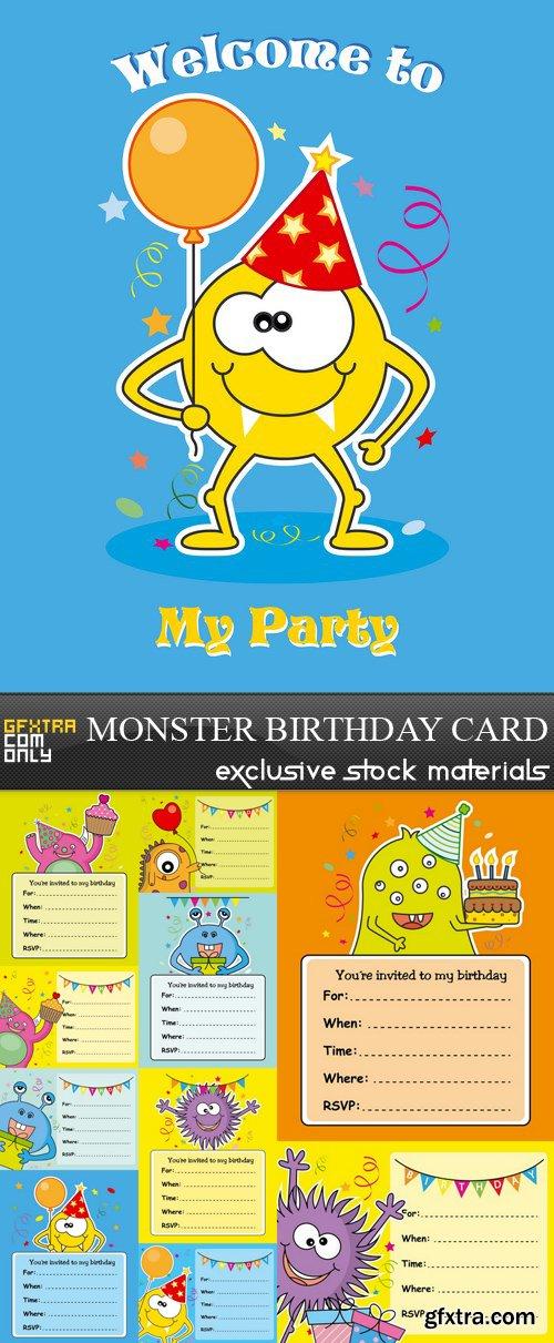 Monster Birthday Card - 11 EPS
