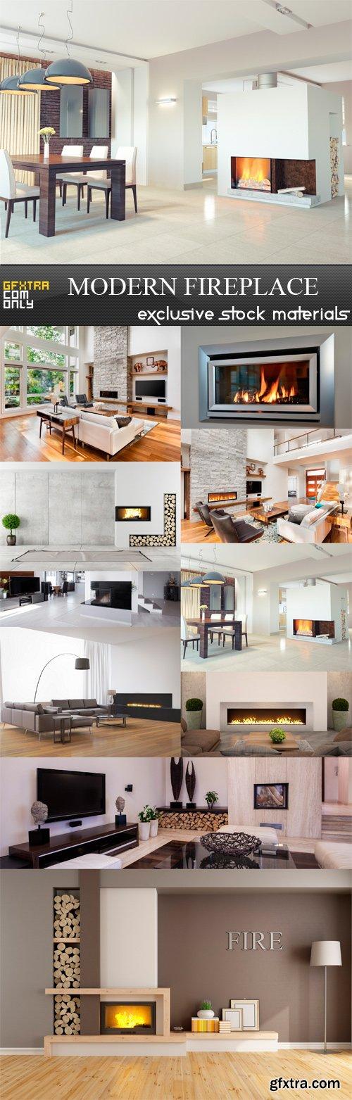 Modern Fireplace - 10 x JPEGs
