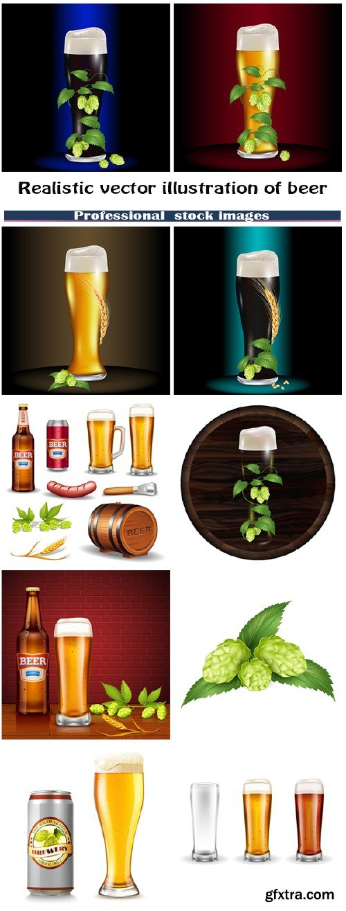Realistic vector illustration of beer