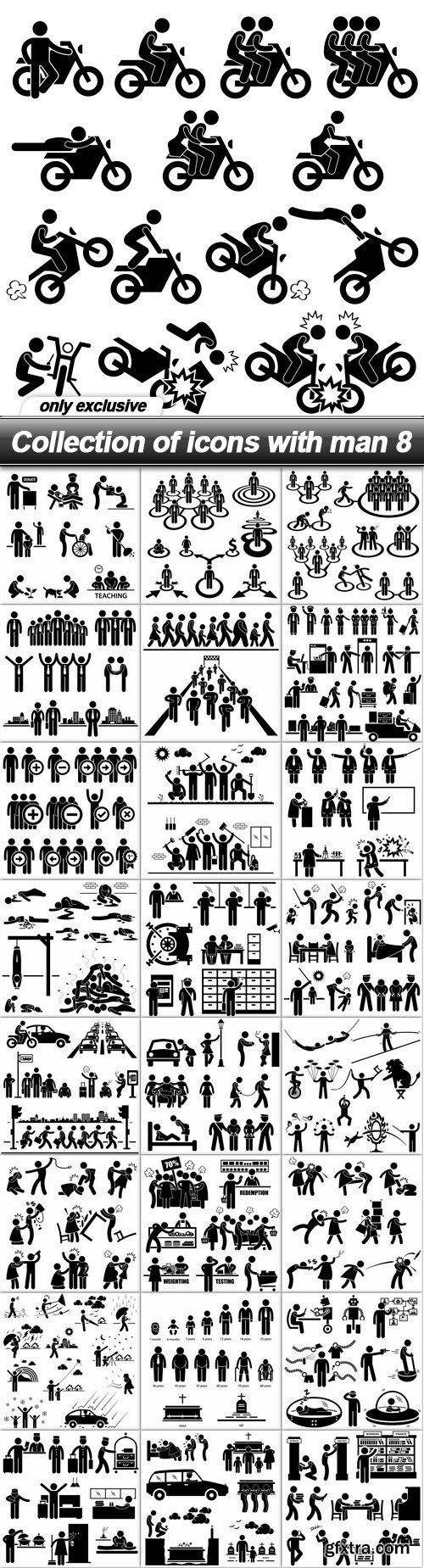 Collection of icons with man 8 - 25 EPS