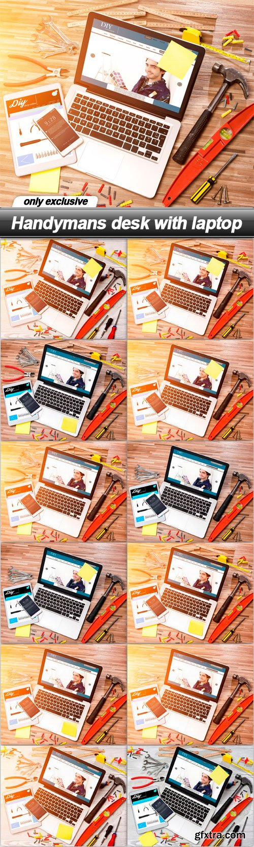 Handymans desk with laptop - 12 UHQ JPEG