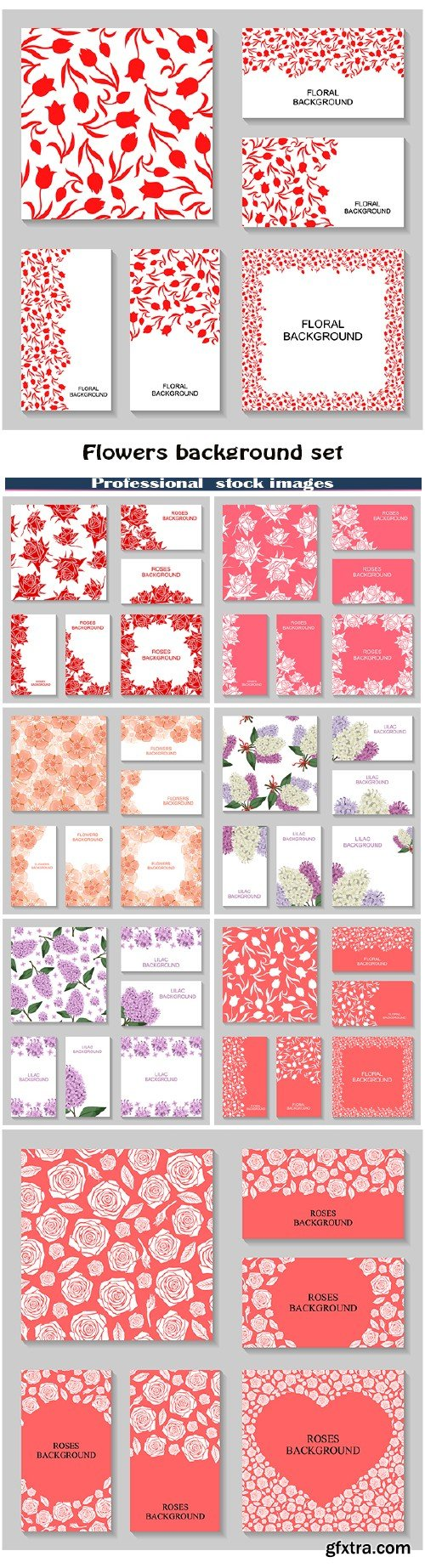 Flowers background set