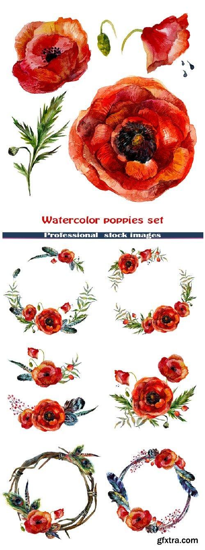 Watercolor poppies set