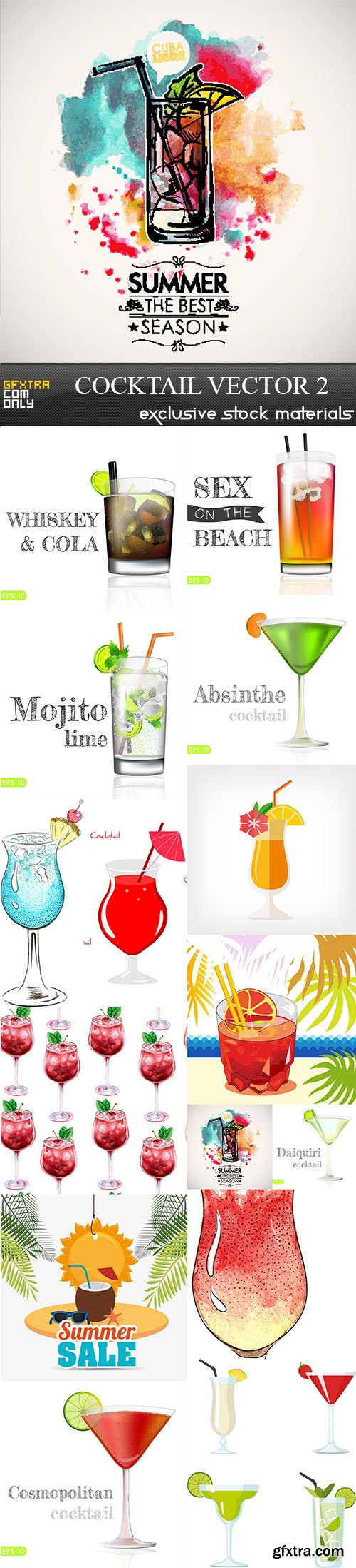 Cocktail vector 2, 15 x EPS