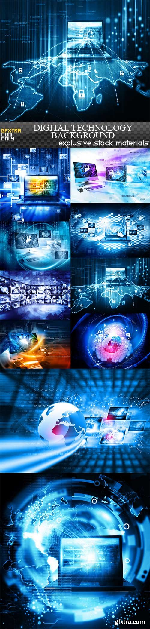 Digital technology background, 10 UHQ JPEG
