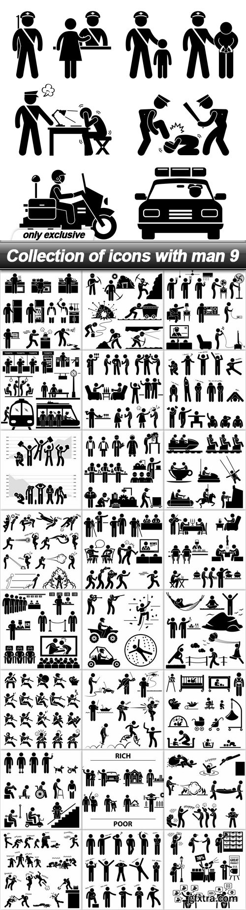 Collection of icons with man 9 - 25 EPS