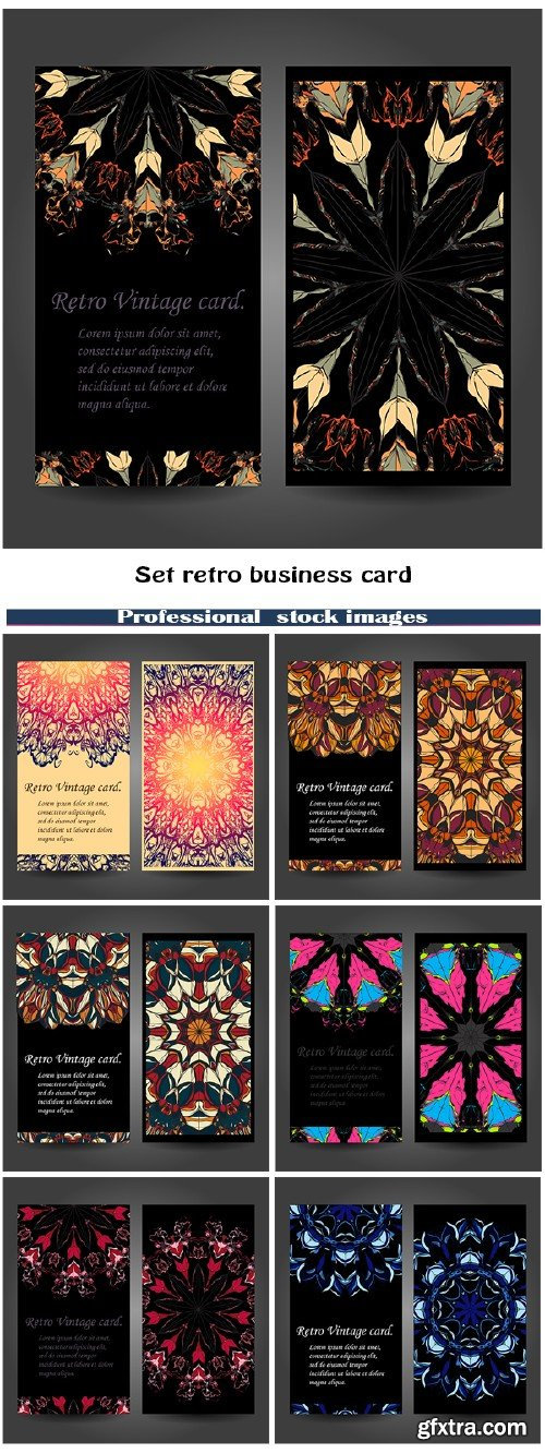 Set retro business card