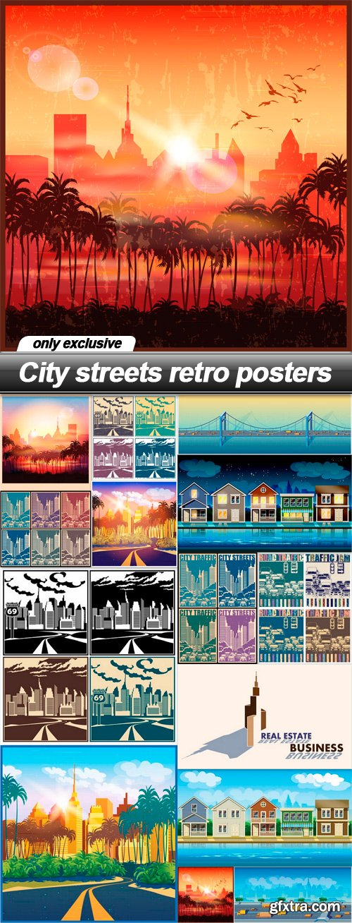 City streets retro posters - 14 EPS