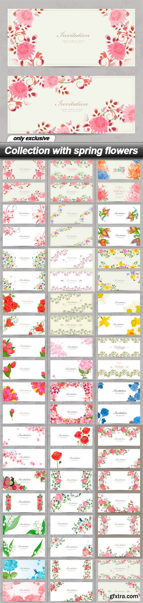 Collection with spring flowers - 30 EPS