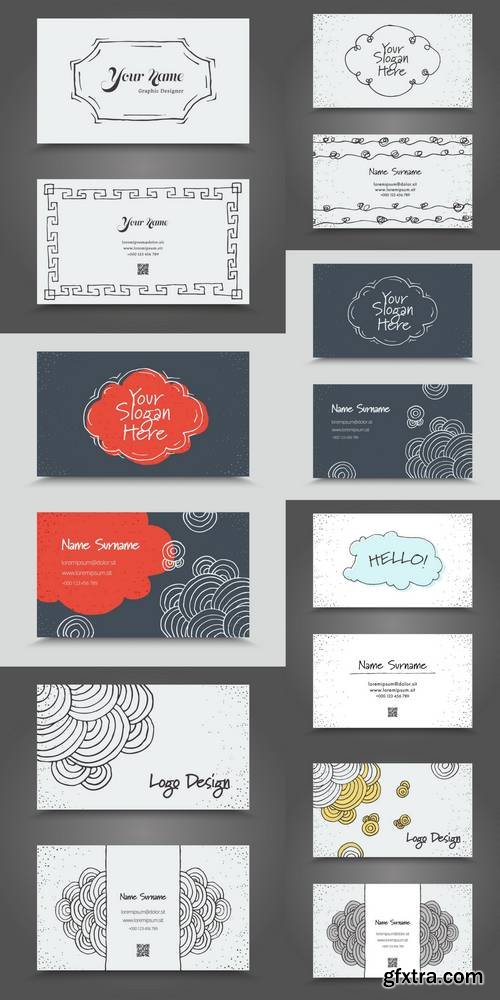 Visit Card with Hand Drawn Abstract Elements
