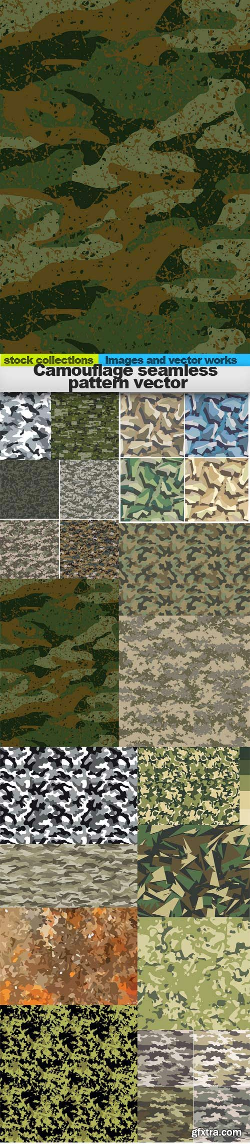 Camouflage seamless pattern vector, 15 x EPS