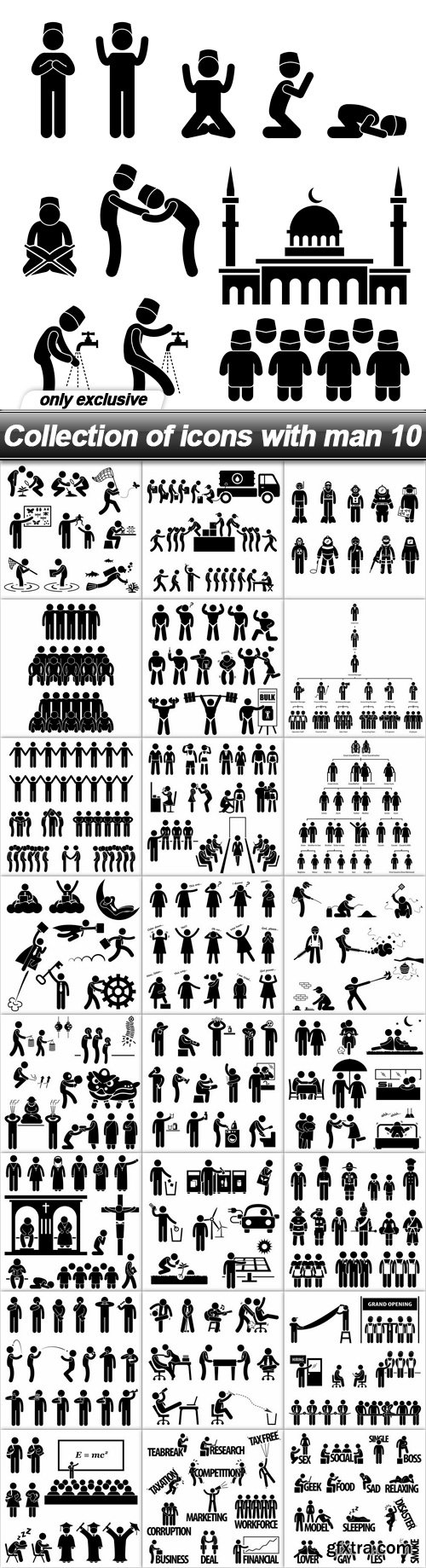 Collection of icons with man 10 - 25 EPS