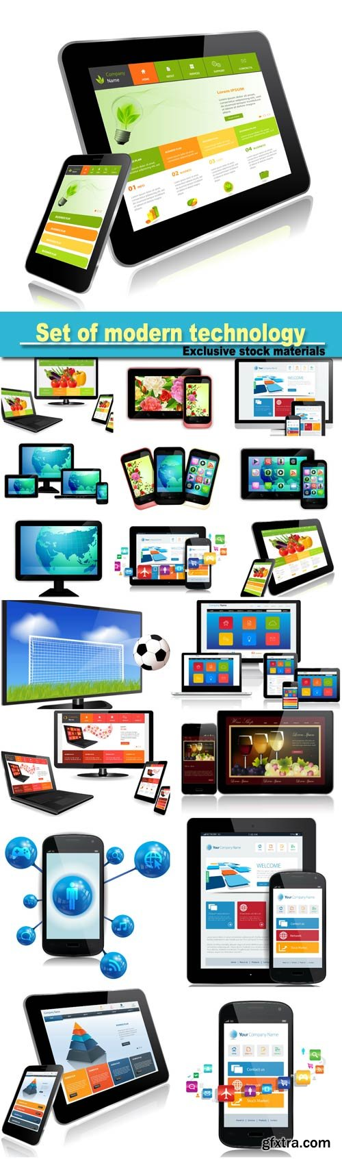 Set of modern technology vector