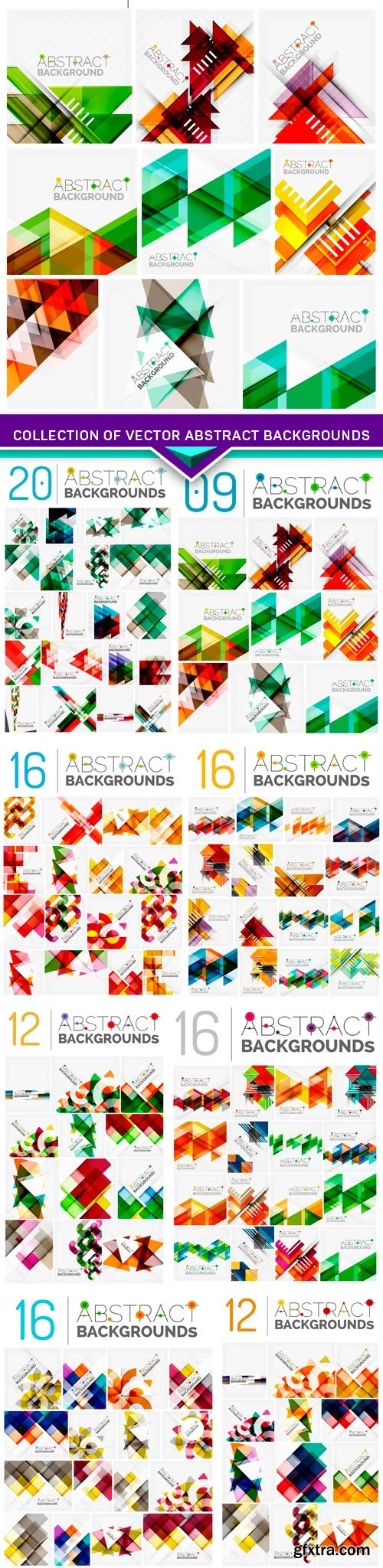 Collection of vector abstract backgrounds 8x EPS