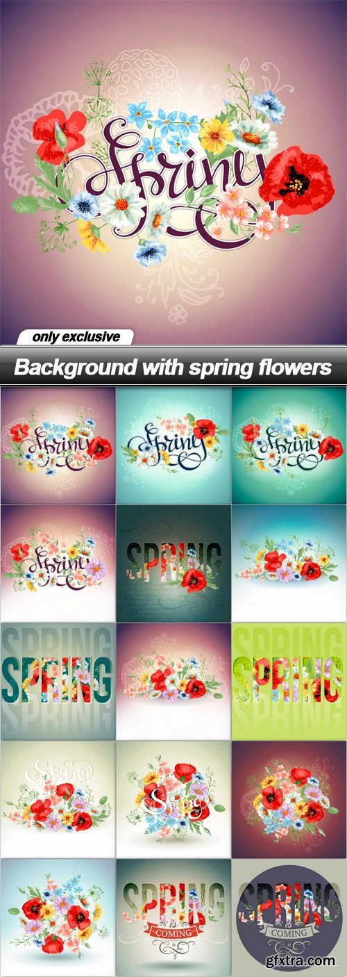Background with spring flowers - 15 EPS
