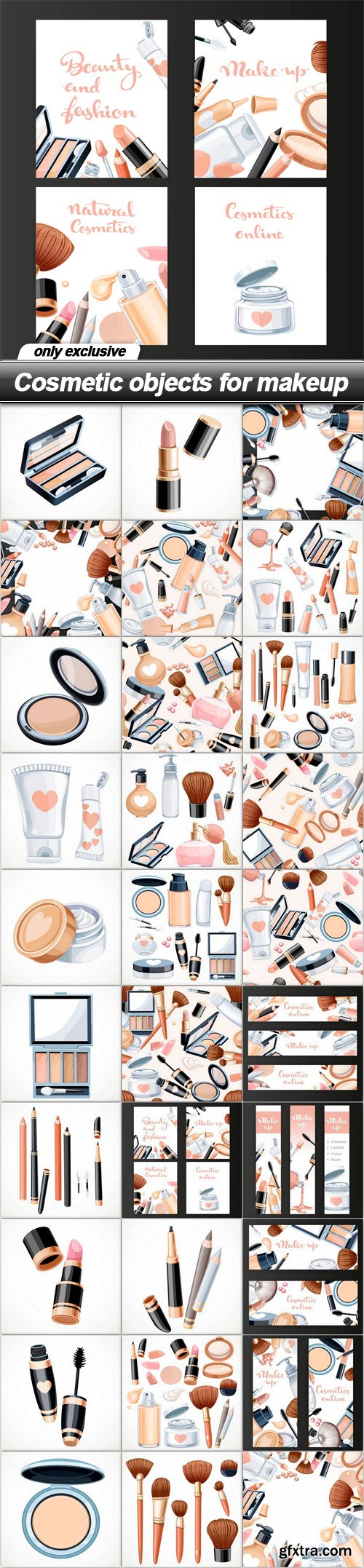 Cosmetic objects for makeup - 30 EPS