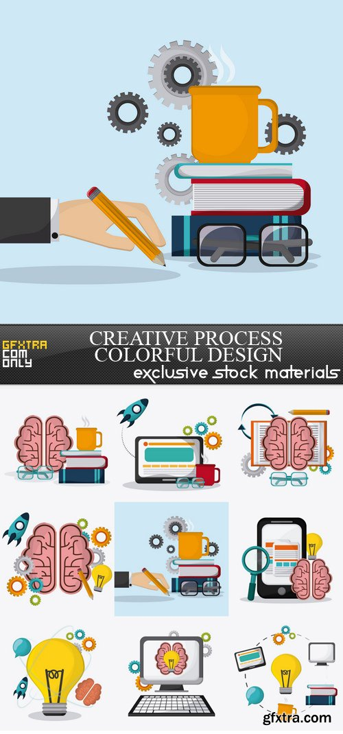 Creative Process Colorful Design - 9 EPS