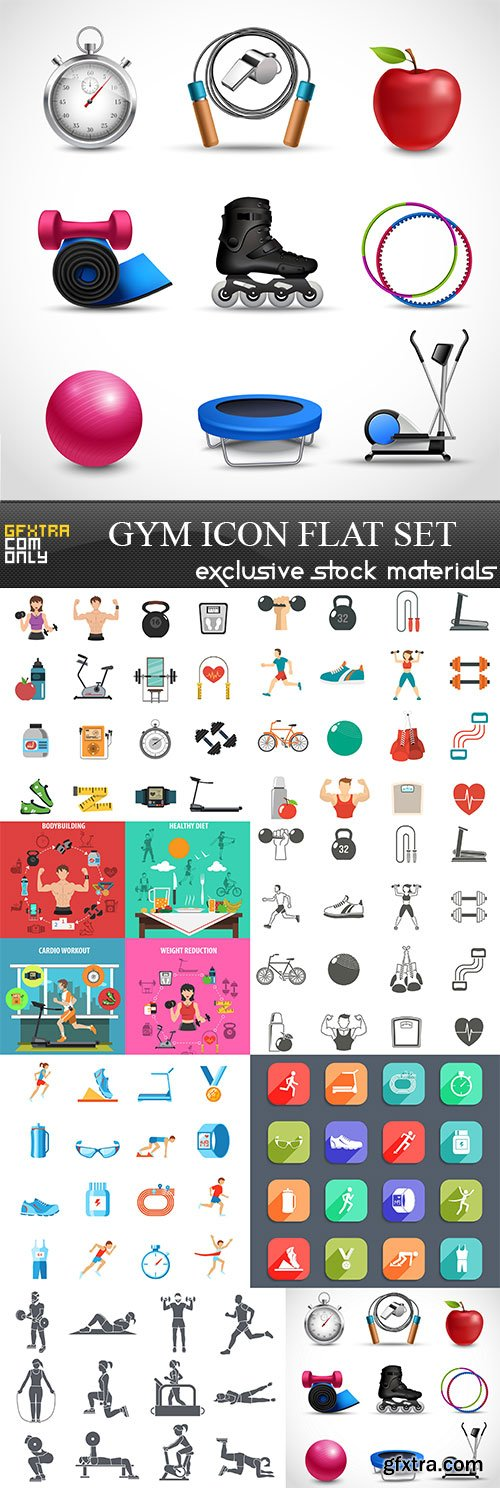 Gym Icon Flat Set, 8  x  UHQ JPEG