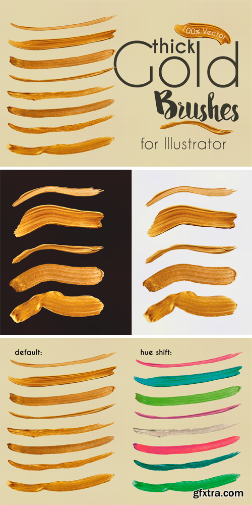 CM 693030 - Gold Paint Brushes for Illustrator