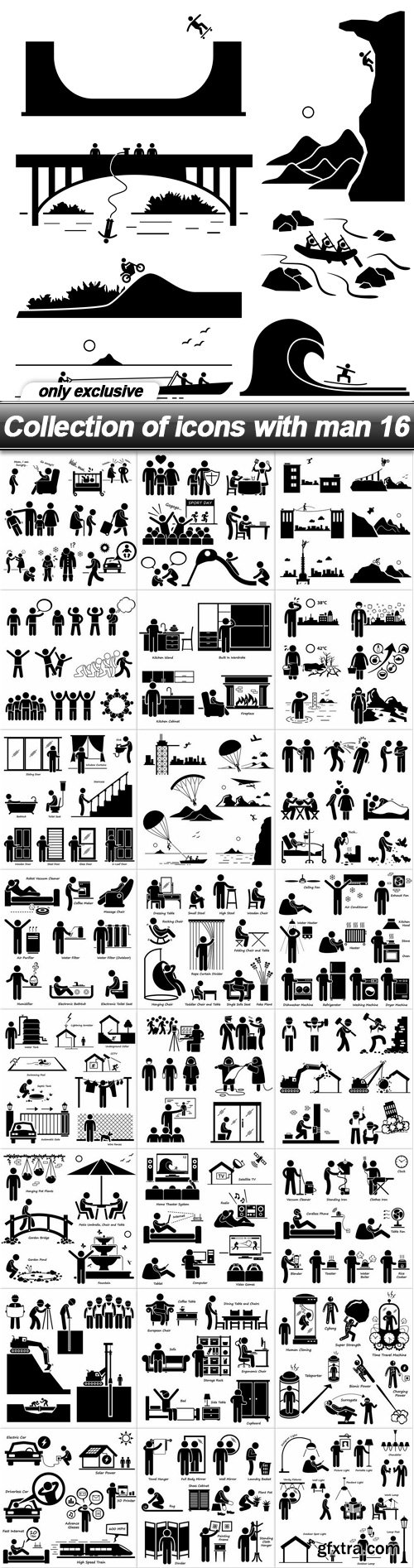 Collection of icons with man 16 - 25 EPS