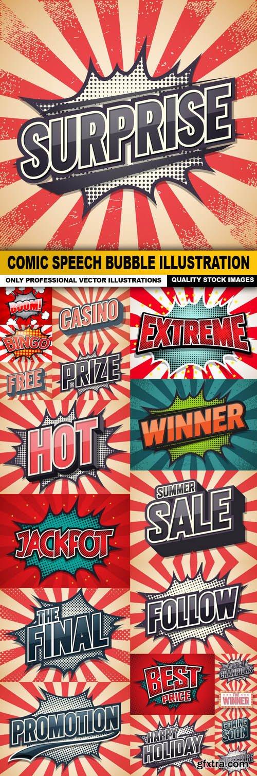 Comic Speech Bubble Illustration - 20 Vector