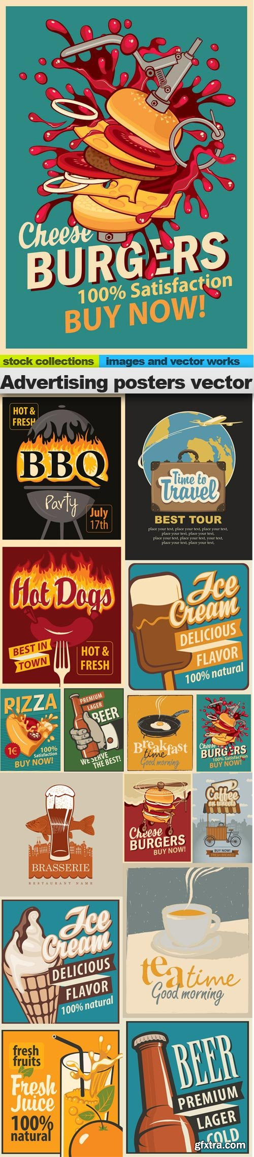 Advertising posters vector, 15 x EPS