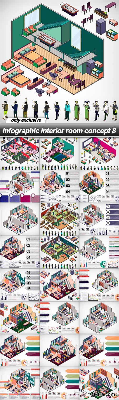 Infographic interior room concept 8 - 25 EPS