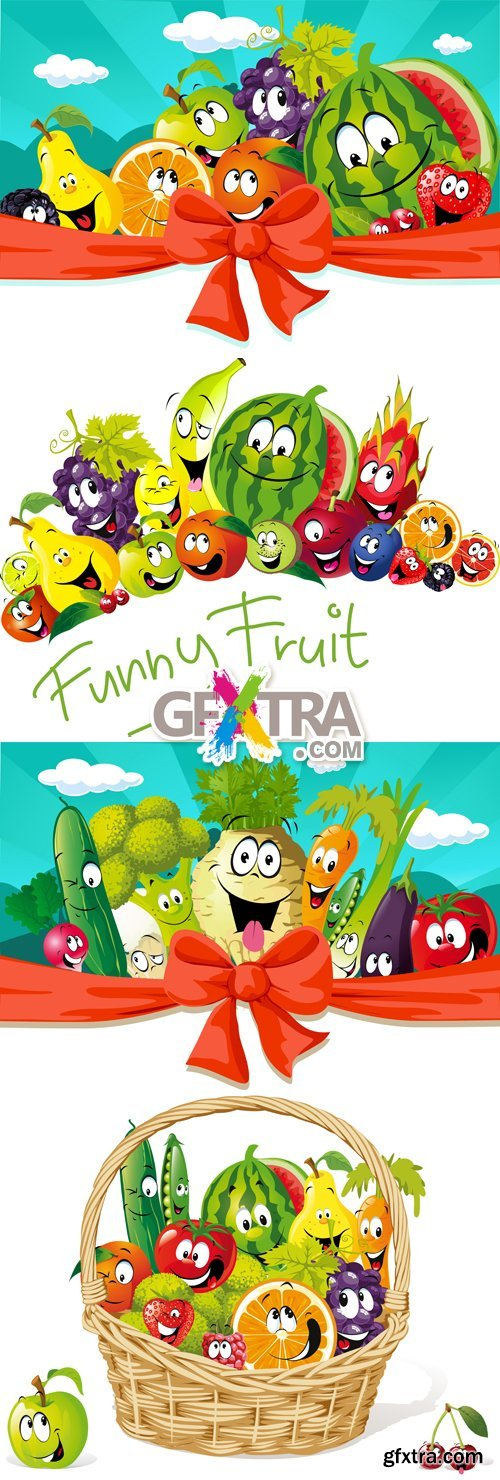 Funny Fruits & Vegetables Vector