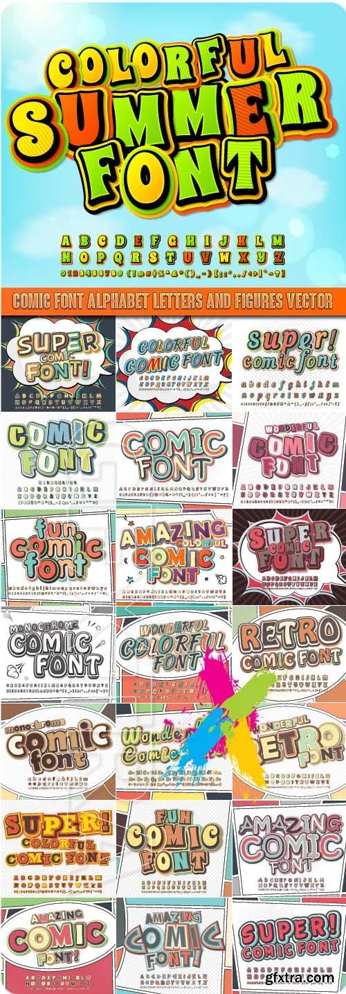 Comic font Alphabet letters and figures vector