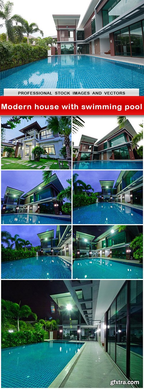 Modern house with swimming pool - 8 UHQ JPEG