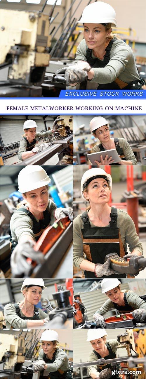 Female metalworker working on machine 8X JPEG