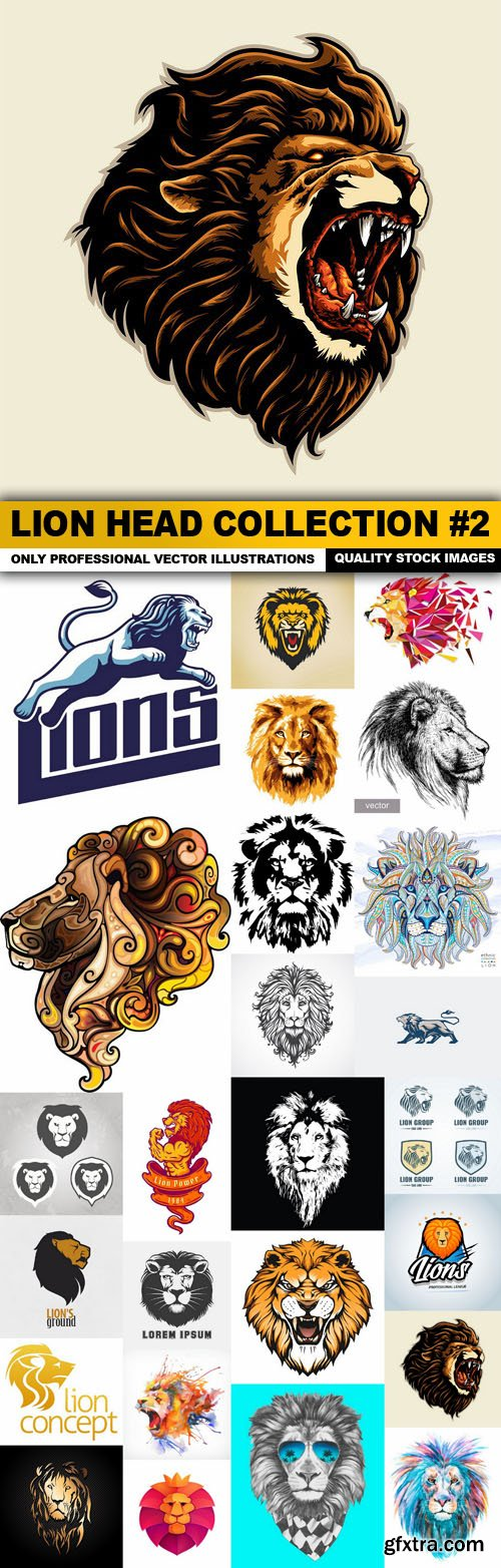 Lion Head Collection #2 - 25 Vector