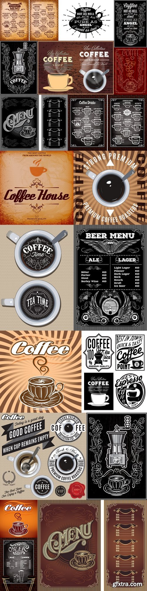 Menu template for an coffee drinks