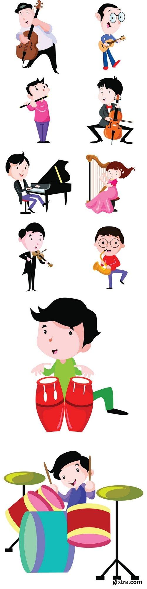 Musician play music instrument illustration vector