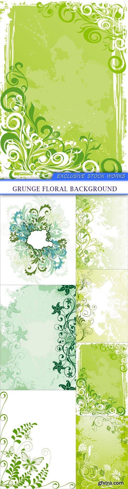 grunge floral background 7X EPS