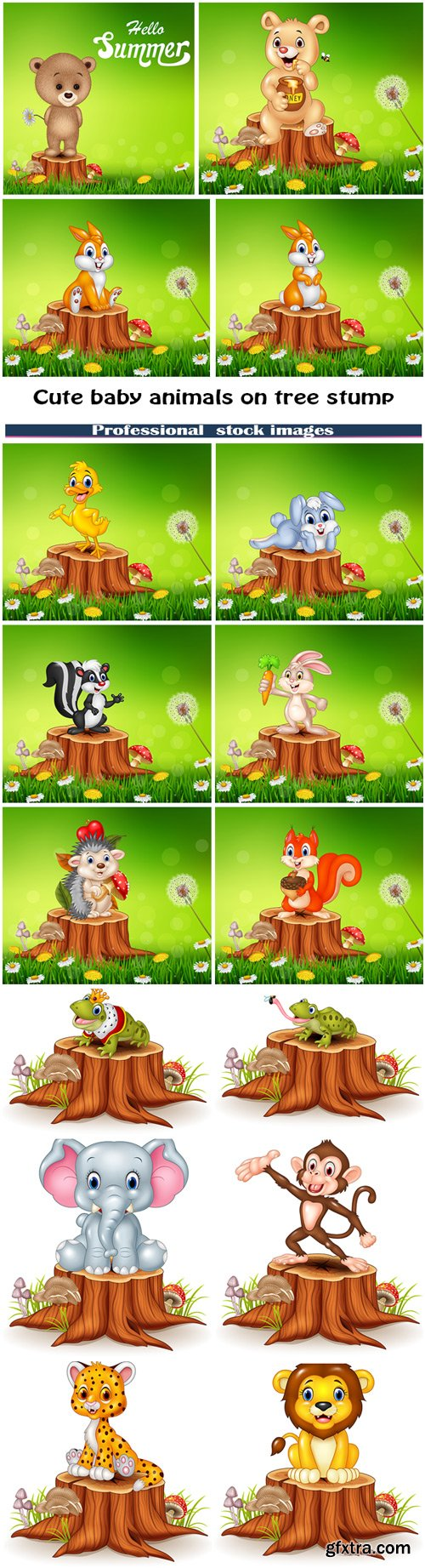 Cute baby animals on tree stump