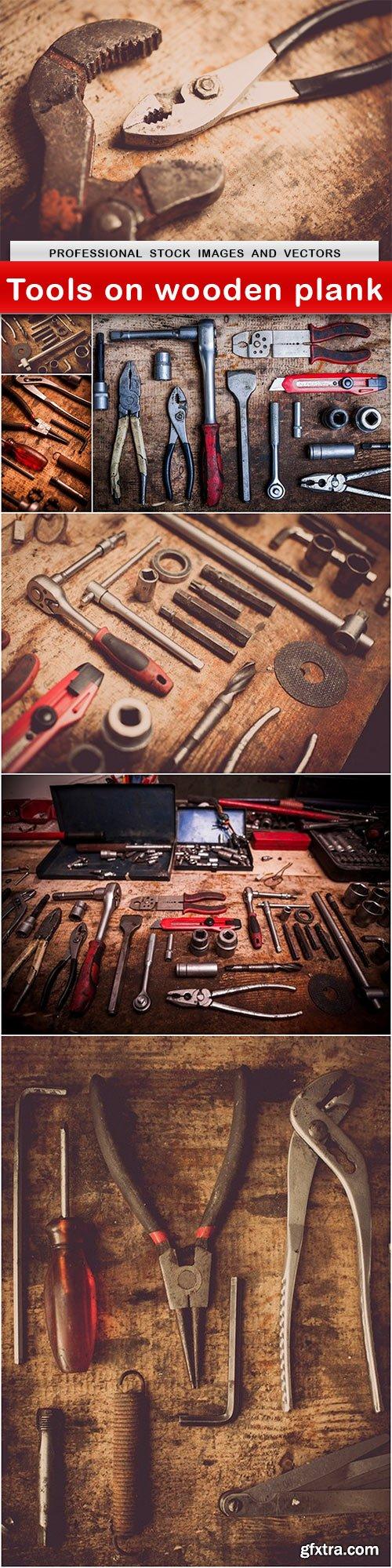 Tools on wooden plank - 7 UHQ JPEG