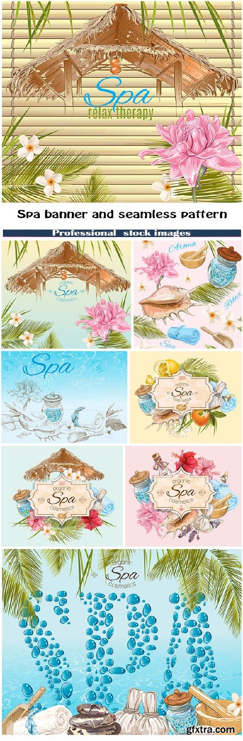 Spa banner and seamless pattern
