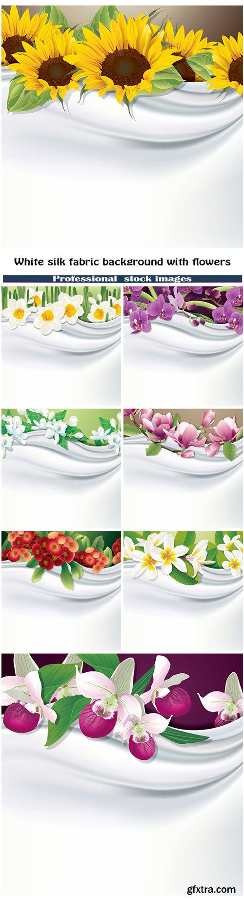 White silk fabric background with flowers