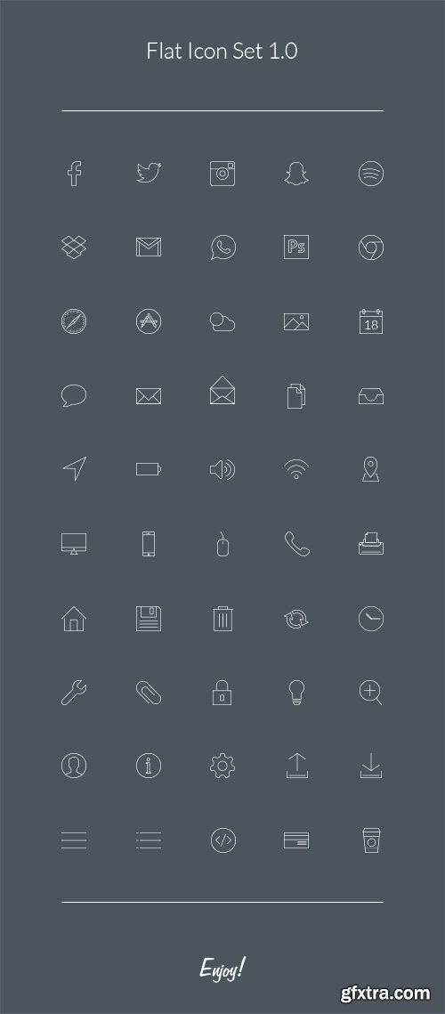 PSD Web Icons - Flat Icons Set 2016
