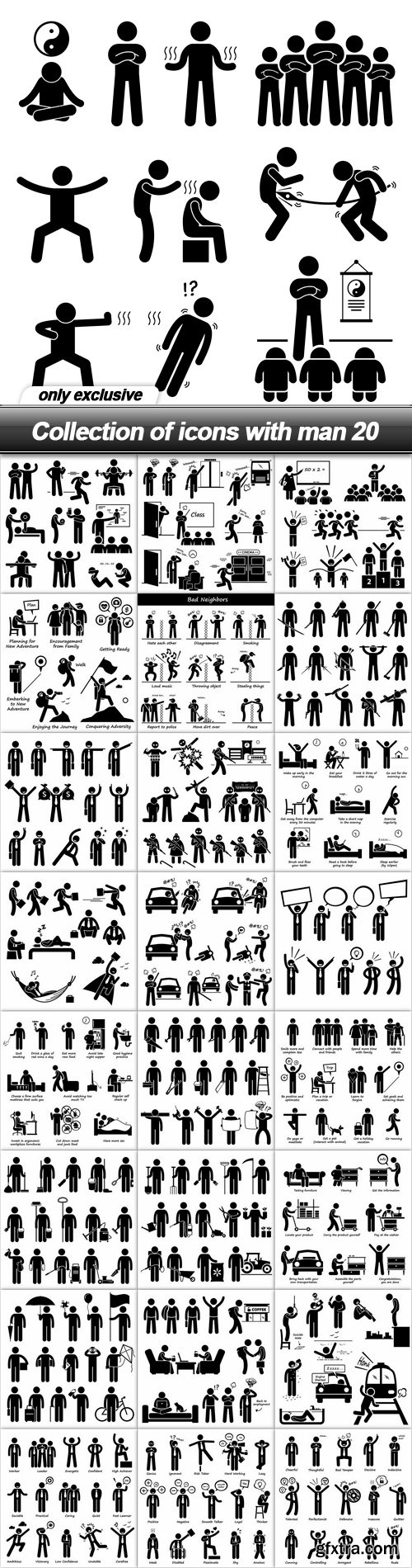Collection of icons with man 20 - 25 EPS