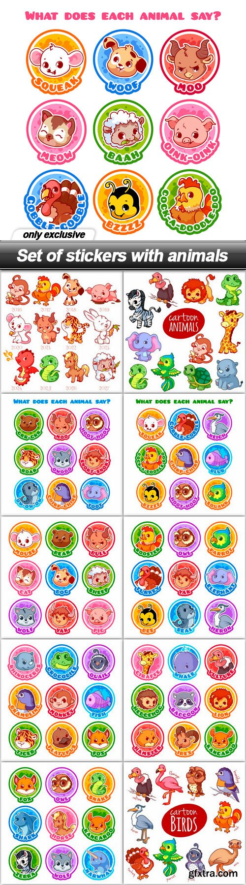 Set of stickers with animals - 11 EPS