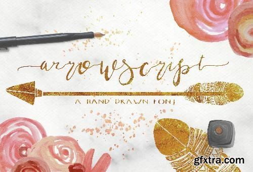 CreativeMarket ArrowScript Font & Watercolor Bonus 680663