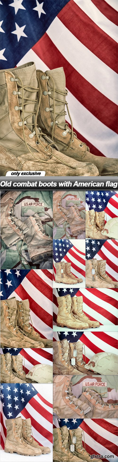 Old combat boots with American flag - 12 UHQ JPEG