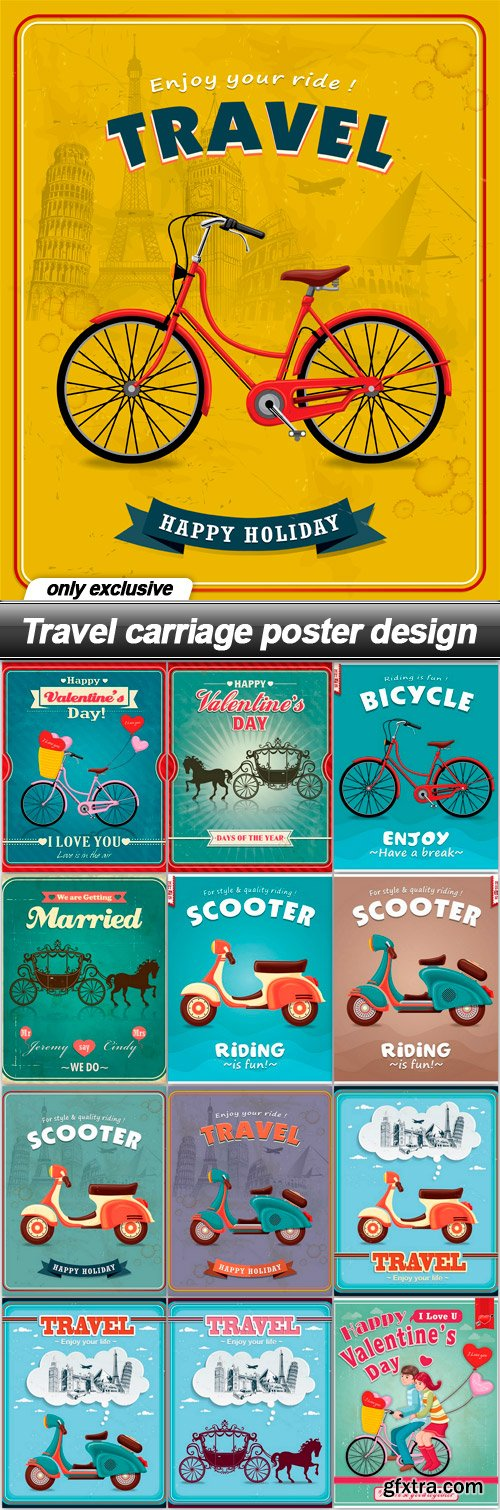 Travel carriage poster design - 13 EPS