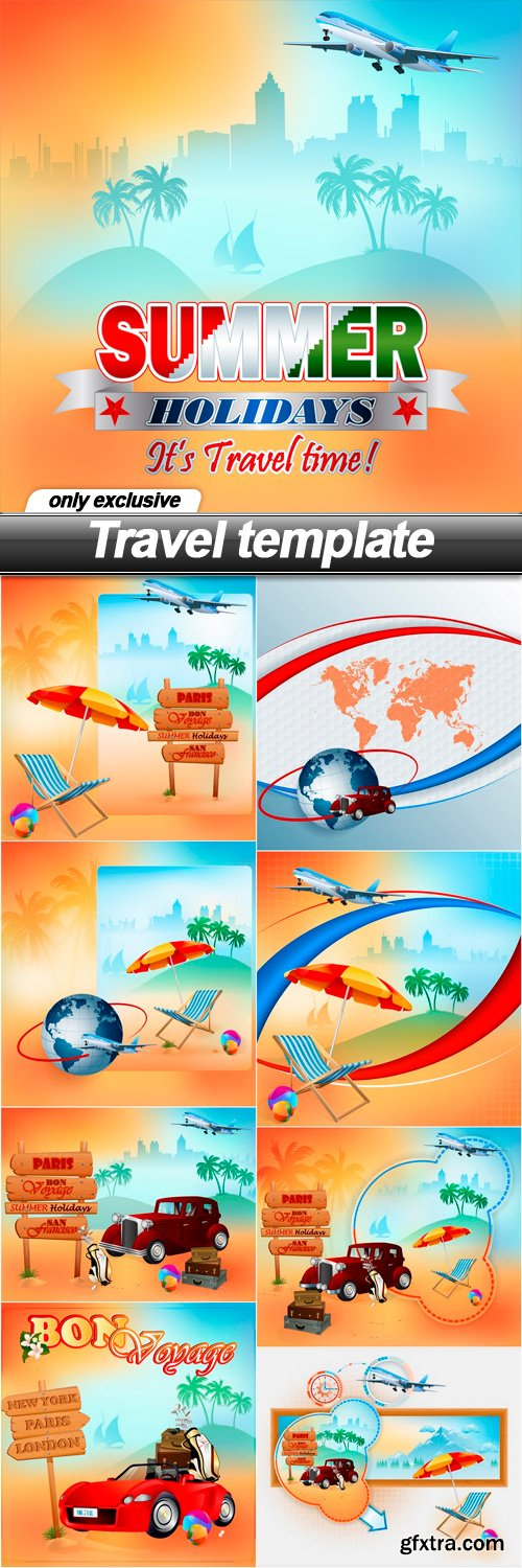 Travel template - 9 EPS
