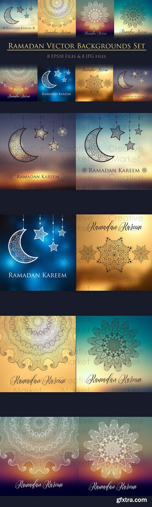 CM - 8 Ramadan backgrounds vector set 703856
