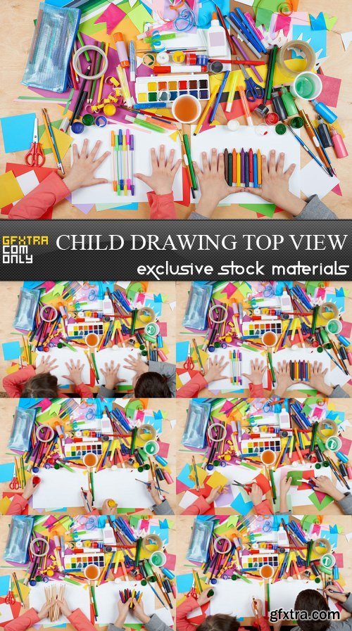 Child Drawing Top View - 6 UHQ JPEG