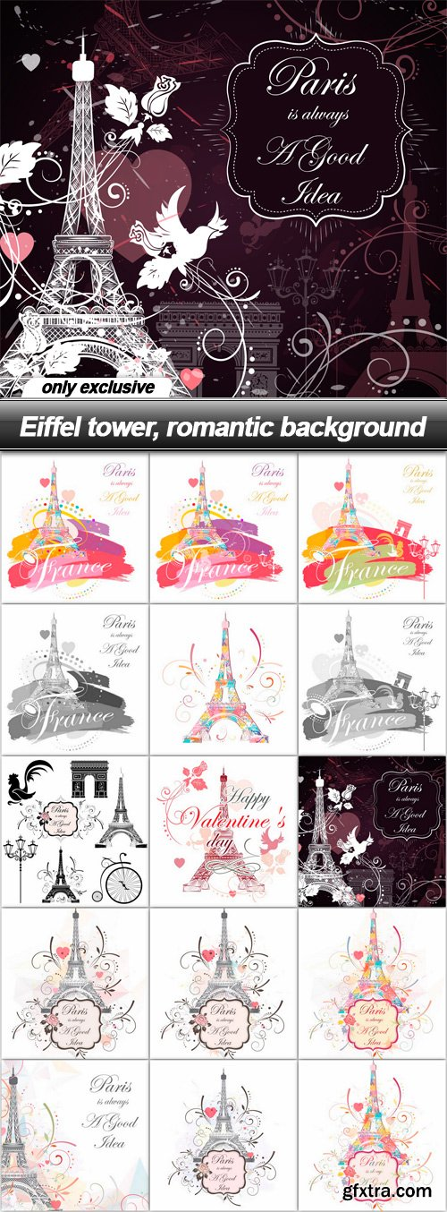 Eiffel tower, romantic background - 15 EPS